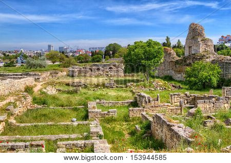 The remains of the ancient city of Chersonesus 528 years. BCE. Oe. Founded by the ancient Greeks to Heracleian peninsula on the southwest
