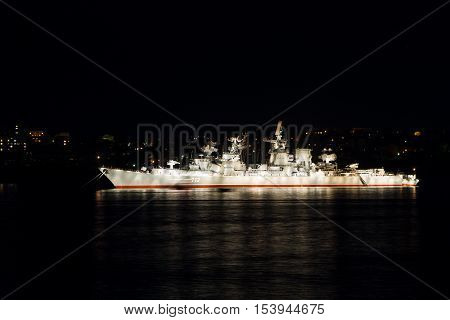 SEVASTOPOL RUSSIA A Russian Navy Kara-class missile cruiser Kerch anchored in the bay of Sevastopol for the Great Victory Day military parade