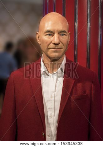 London, the UK - May 2016: Patrick Stewart wax figure in Madame  Tussauds museum