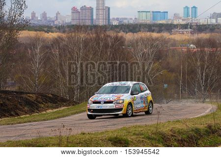 Moscow Russia - Apr 18 2015: Volkswagen Polo driver Kovalchuk Alexey and co-driver Andreev Alexey during the Rally Masters Show 2015 at the Krylatskoye District.
