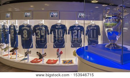 London, the UK - May 2016: FC Chelsea players shirts at the exposition of the club museum