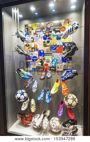 London, the UK - May 2016: Stars footwear stand in FC Chelsea  museum