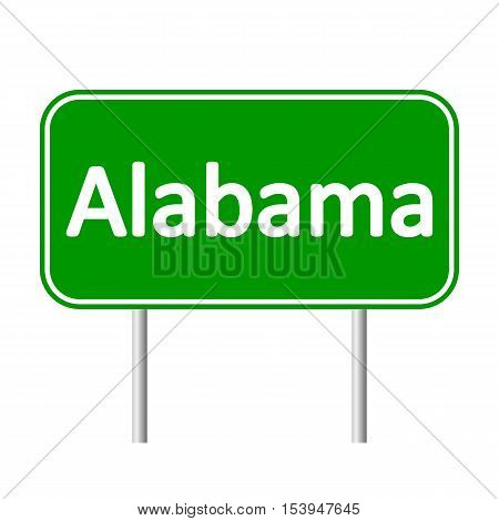 Alabama green road sign isolated on white background.