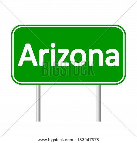 Arizona green road sign isolated on white background.