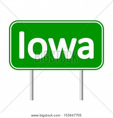 Iowa green road sign isolated on white background.