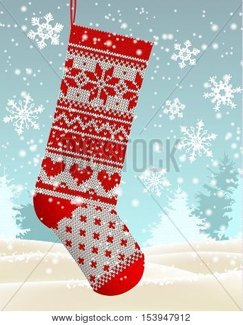 Christmas theme, red knitted christmas stocking hanging in front of winter snowy forrest landscape, with text Let it snow, vector illustration, eps 10 with transparency