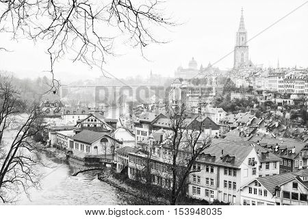 The Aare River wraps around the Old City of Bern, Switzerland. Black and white