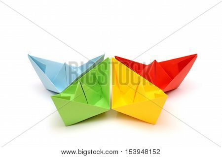 Ships origami. Paper boats. Colorful figures. Transport origami