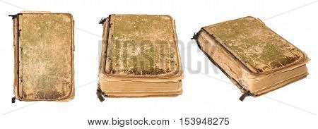 Old torn book isolated on white background. Vintage Book photographed from various angles. Tattered book