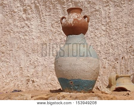ancient jug from clay in a Berber cave