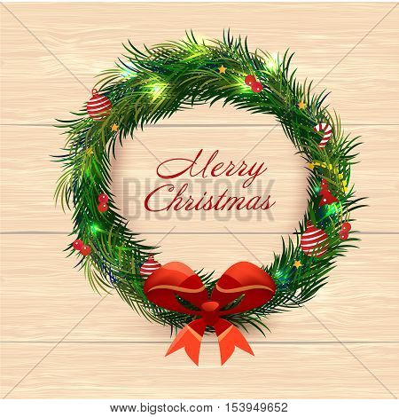 Realistic Christmas coniferous wreath isolated on the white background. Vector Illustration, eps10, contains transparencies.
