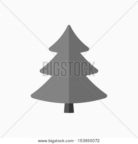 Christmas tree sign. Simple cartoon icon. Black template silhouette isolated on white background. Flat design. Symbol of holiday winter Christmas New Year celebration. Vector illustration