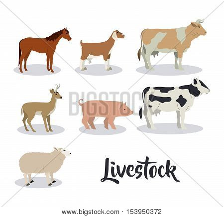 Horse goat deer cow beet lamb and pork icon. Livestock animal life nature and fauna theme. Isolated design. Vector illustration
