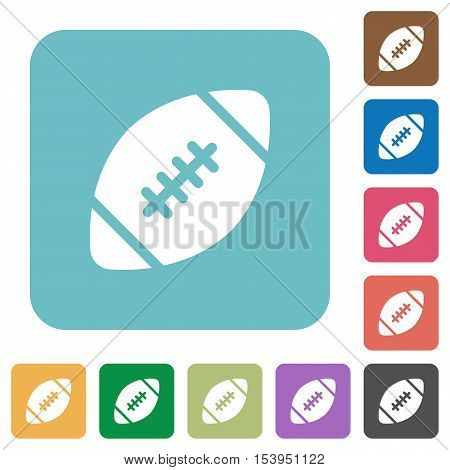 Rugby ball white flat icons on color rounded square backgrounds