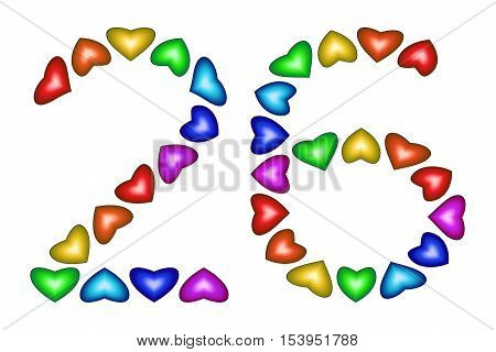 Number 26 of colorful hearts on white. Symbol for happy birthday event invitation greeting card award ceremony. Holiday anniversary sign. Multicolored icon. Twenty six in rainbow colors. Vector