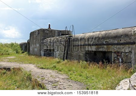 Kronstadt Russia - 10 July 2016: Fort Nr.3 Graf Milutin. Marine reinforced concrete fortification construction for protection of Saint Petersburg from attack by naval forces. Built in 1855-1856 years
