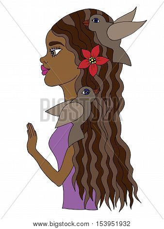 Colorful young beautiful afro American girl with bird and flower on hair. Mono color black line art element for adult coloring book page design.
