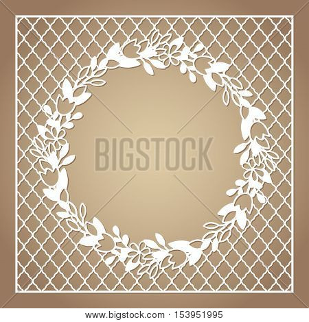 Openwork square frame with wreath of flowers. Laser cutting template for greeting cards envelopes invitations interior decorative elements.