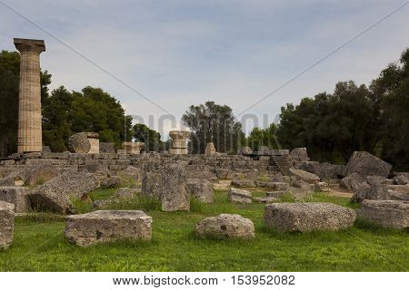 Ruins in the city of Olympia Peloponnese Greece