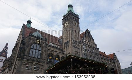View to the New City Hall of Chemnitz during a visit to the Christmas market