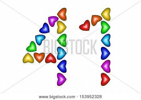 Number 41 of colorful hearts on white. Symbol for happy birthday event invitation greeting card award ceremony. Holiday anniversary sign. Multicolored icon. Forty one in rainbow colors. Vector