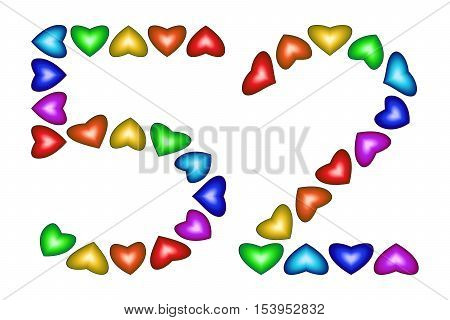 Number 52 of colorful hearts on white. Symbol for happy birthday event invitation greeting card award ceremony. Holiday anniversary sign. Multicolored icon. Fifty two in rainbow colors. Vector