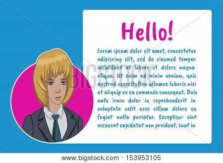 Banner with business people. Vector illustration character with bubble talk. Vector quote for colorful web banners, web sites, printed materials, infographics, startup, marketing. Girl says - hello