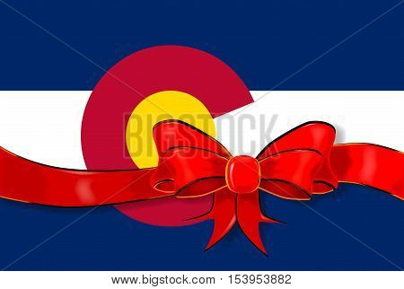 The flag of the USA state of Colorado with red ribbon