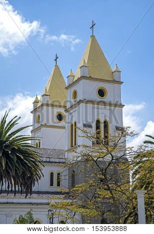 Steeples of the cathedral of Guaranda, Bolivar Province, Ecuador, on a sunny day