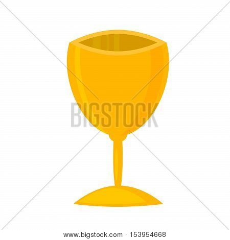 Vector illustration of gold shiny trophy. Victory award sport success winner achievement gold cup. Best metal win reward competition gold cup first prize champion symbol. Sport gold cup award.