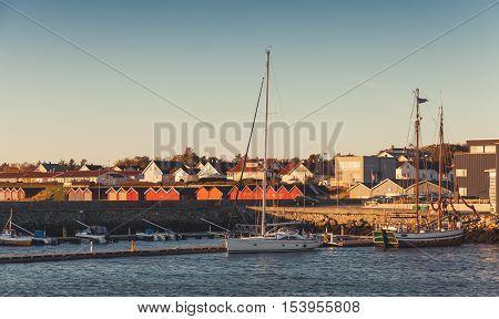 Boats Moored In Port Of Brekstad, Norway