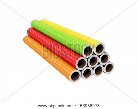 roll PVC film, Isolated on White Background, 3D rendering