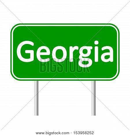 Georgia green road sign isolated on white background