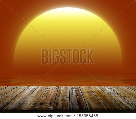 Illustration of top of wooden table at sunset