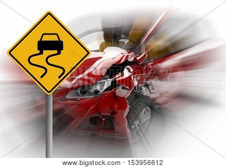 Red car accident with danger yellow sign in front: 3D illustration