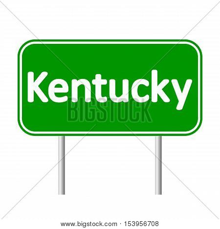 Kentucky green road sign isolated on white background