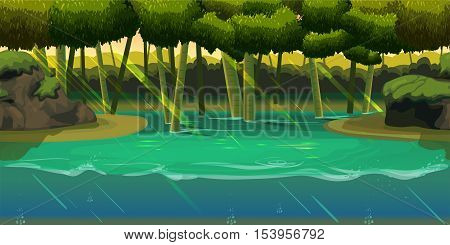 Underwater background Landscape with jungle . For web mobile phone, print, game design .Vector illustration for your design