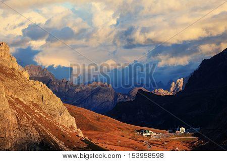 Dolomites - aerial view of Pordoi Pass and Marmolada Mount, Italy, Europe