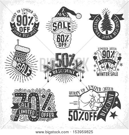 Christmas New Year sale discounts - logo labels posters in retro vintage style. Reduced percentages price. Vector monochrome layered illustration.