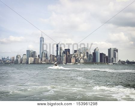 New York cityscape, USA black an withe