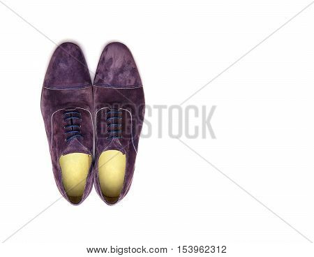 Purple male shoes on a white background