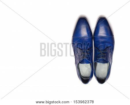 Blue male shoes on a white background