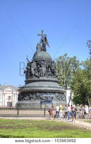 VELIKY NOVGOROD - July 19 2009: Millennium of Russia monument. It was erected in 1862 to celebrate the millennium of Rurik's arrival to Novgorod