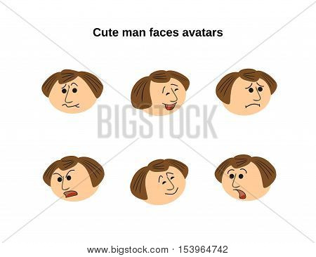 Cute man faces different emotions. Fun smiles character avatars with expression. Cartoon comic people face icon set. Sing of joy, laughter, sadness, anger, shock, crying person. Vector illustration