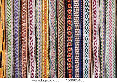 Detail of a traditional Lithuanian weave displayed on a fair
