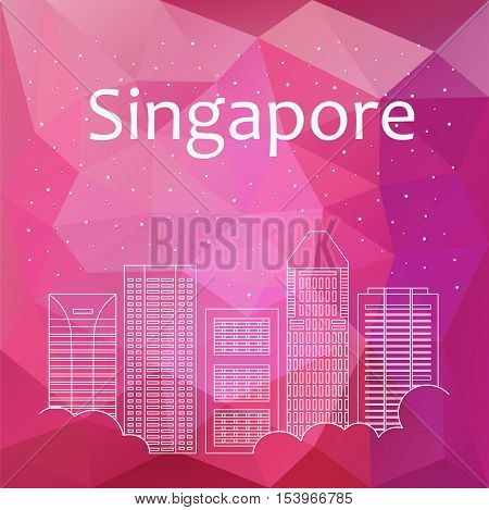Singapore for banner, poster, illustration, game, background. Vector background Singapore - snow is falling. Night life of Singapore. Hackathon, workshop, training in Singapore. Holiday in Singapore