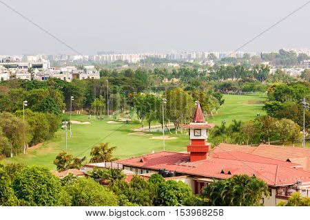 Karnataka Golf Association golf course in Bangalore. This view is taken from the Hotel Royal Orchid at entrance of the course.