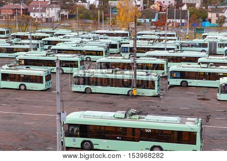 View Of The Depot With Trolleybuses