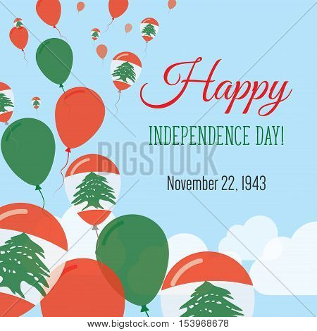 Independence Day Flat Greeting Card. Lebanon Independence Day. Lebanese Flag Balloons Patriotic Post