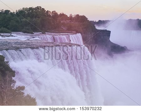 Niagara Falls from USA Landscape View black an withe